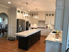 Kitchen Renovation in Smyrna, GA. Loving this marble countertop. We had to work extremely hard to make sure the lines of the marble flowed together at the seams. Basement Renovations, Bathroom Renovations, Marble Countertops, Laundry Room, Sweet Home, Kitchens, Interior, Atlanta, Amp