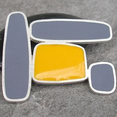 Charcoal Grey and Mustard Yellow Resin and Sterling Silver Modern Brooch