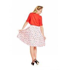 Bernadette' Pink Lipstick Print Swing Skirt