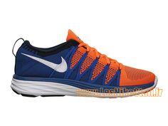 the best attitude 6e08c b2c1b Officiel Nike Flyknit Lunar 2 GS - Chaussure de Running Pas Cher Pour Femme  Orange Blanc Bleu 620465-801
