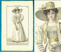 Antique 1825 elegant white gown fashion print wide Regency bonnet Journal des Dames et des Modes