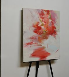 Abstract painting White red canvas art flower painting by Pysar