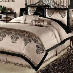 Gathered Valance has black floral medallions on taupe with black edging. Description from touchofclass.com. I searched for this on bing.com/images