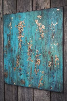 Old World Patina Texture Painting Turquoise Green Blue Gold