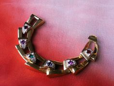 Large Angular Link Gold Tone Multi Color by dazzledbyvintage