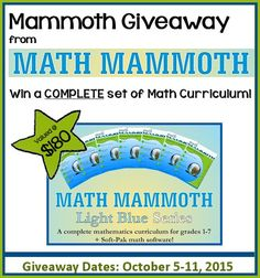 Enter to win on a complete Math Curriculum from Math Mammoth $180 value! http://www.christianhomeschoolhub.com/pt/Math-Mammoth-Giveaway-/wiki.htm
