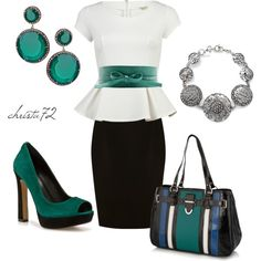 Love the peplum top & pop of green!  Classic +, created by christa72 on Polyvore