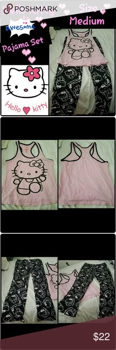 💕🎀💖Hello Kitty PJS💕🎀💖 💕♥💖♥💟These are so cute!!♥💟💕♥💖Hello Kitty pajamas!! 🎀🎀100% cotton!!😊😇Size Medium but they do stretch..☺☺🆕Like New Never Worn🆕👍👍SUPER comfortable & ADORABLE!!👍👍🌸💖♥🎀 Hello Kitty Intimates & Sleepwear Pajamas