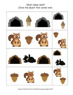 Preschool Printables Hibernation What Comes Next Patterns