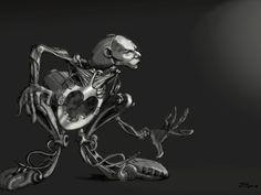 Ilustración digital escla de grises .Cyborg Reciclador Informal