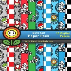 Free Super Mario Bros Digital Paper pack 2 comes with 11 printable papers. Great for digital scrapbooking or a Super Mario Bros Birthday Party. Super Mario Bros, Super Mario Birthday, Mario Birthday Party, Super Mario Party, 7th Birthday, Birthday Parties, Mario Kart, Kit Digital, Digital Paper Free