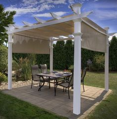 This pergola transforms a space in your yard into a beach-inspired retreat. The full canvas shade cover allows you to enjoy your yard at any time of the day. The maintenance-free and durable vinyl will not crack, warp, rot, or need repainting. Click to view more shading ideas.