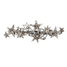 Women's Cara Crystal Star Barrette ($24) ❤ liked on Polyvore featuring accessories, hair accessories, gunmetal, barrette hair clips, hair clip accessories, sparkly hair clips, crystal hair clips and star hair accessories