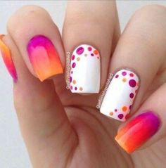 tequila sunrise orange through red to pink and polka dot spray on white nails