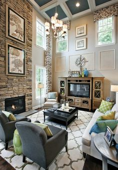 Stone wall accent wall living room chandelier pictures hang