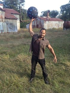 Martinez and and the gaff tape ball on The Walking Dead set.