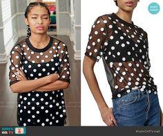 Zoey's sheer mesh polka dot top on Black-ish.  Outfit Details: https://wornontv.net/65701/ #Blackish