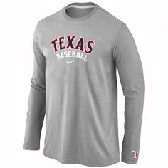 Texas Rangers Long Sleeve Baseball T-Shirt Grey Hockey Gear 7b3cc3947