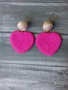 Heart drop earrings Heart earrings dangle Pink beaded earrings Beadwork earrings Heart earrings BonB - Women's style: Patterns of sustainability Heart Earrings, Beaded Earrings, Crochet Earrings, Heart Jewelry, Jewelry Trends, Beaded Embroidery, Handmade Jewelry, Earrings Handmade, Pink