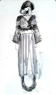 "amanda henderson knits / illustration in ink / knit ""helmet"", head wrap, wrap sweater, wrap skirt hand dyed"
