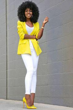 Vintage Yellow Blazer + White Tank + White Jeans