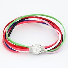 Pendants Multicolor Bright Ball Decorated Multilayers Exquisite Design Alloy Korean Fashion Bracelet    www.asujewelry.com