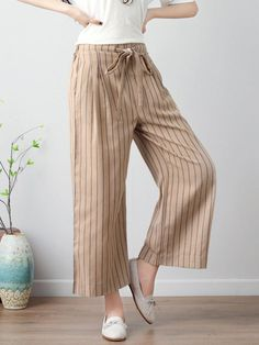 Stripe Wide Leg Drawstring Waist Casual Pants is necessary for cold weather, NewChic will show cheap trendy women Pants & Capris for you. New Chic, Pants For Women, Clothes For Women, How To Get Money, Casual Pants, Drawstring Waist, Wide Leg Pants, Color Black, Black White