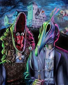 PRINT of an original portrait By Joshua Roman of The Maitlans from the film Beetlejuice In the style or Grant Wood's American Gothic painting. Arte Tim Burton, Tim Burton Kunst, Estilo Tim Burton, Tim Burton Style, Arte Horror, Horror Art, Horror Movies, Funny Horror, American Gothic