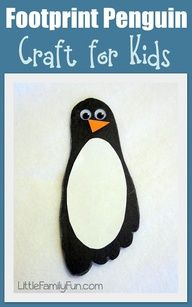 Simple Penguin Craft - No Time For Flash & simple penguin craft for kids!Fun & simple penguin craft for kids!Simple Christmas Penguin Craft with Free Printable Templates - Simple Mom ProjectLooking for a fun Daycare Crafts, Toddler Crafts, Fun Crafts, Crafts For Kids, Toddler Art, Classroom Crafts, Classroom Ideas, Footprint Crafts, Penguins