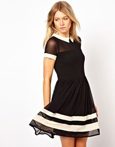 Image 1 of ASOS Skater Dress In Mesh With Contrast Detail And Short Sleeves