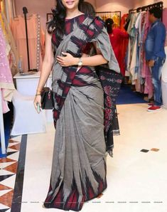 Gray n red saree with red blouse