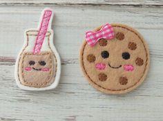 Leche y apliques de fieltro galleta, Cookie y leche apliques, fieltro bordado Chocolate con leche y galleta, leche y galletas Felties por OodlesandWoodles