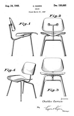 Chair Patent Drawing (March by Charles Eames Charles Eames, Chair Design, Furniture Design, Industrial Office Chairs, Industrial Furniture, Modern Furniture, Image Deco, Chair Drawing, Modernisme