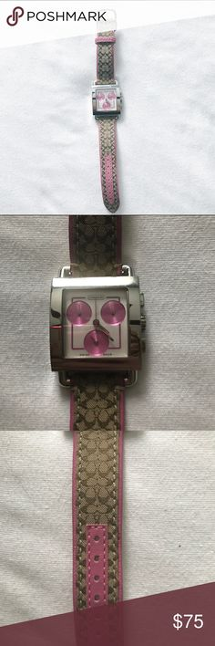 Pink coach watch real leather Pink coach watch. Needs a battery but works great! I just don't wear watches. This has barely been used. It's in GREAT condition. Almost new. Real leather band Coach Accessories Watches