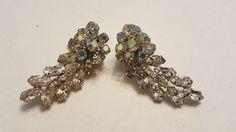 Vintage clear & aurora borealis rhinestone clip earrings