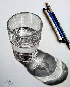 Realistic Drawings drawing a glass of water - A list of still life ideas for teachers and Art students. The collection includes old favourites, as well as more unusual still life drawing topics. 3d Drawings, Realistic Drawings, Drawing Sketches, Drawing Portraits, Amazing Drawings, Horse Drawings, Pencil Sketching, Realistic Paintings, Detailed Drawings