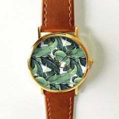 Banana Leaves Watch 3 Vintage Style Leather Watch par FreeForme