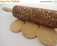SUMMER SALE PAISLEY pattern Embossing Rolling pin. by AlgisCrafts