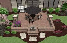 Small Patio Design with Fire Pit
