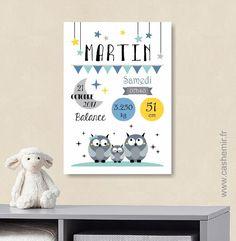 Affiche naissance bébé, cadeau de naissance garçon personnalisé, tableau chambre bébé enfant, animaux - Fichier Imprimable - n°9 : Affiches, illustrations, posters par cashemir