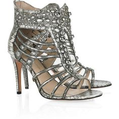 Studded Silver Leather Cage Sandals
