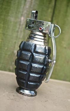 vintage table lighter - 1960s Prince Combat grenade table lighter