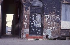 Wapping High Street, 1973 [Graffiti for Ted (Heath), the Prime Minister?]