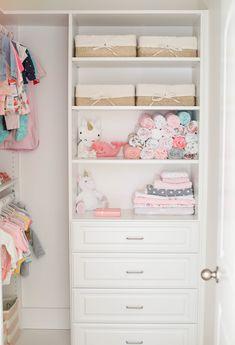 Baby Emma's Nursery Reveal - Eat Yourself Skinny Baby Girl Closet, Kid Closet, Girls Closet Organization, Nursery Organization, Organization Ideas, Nursery Storage, Shed Interior, Set Of Drawers, Bookshelves Kids