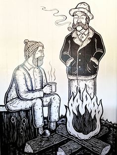 The Buzz Mill by Full & Content #atxcityguide #coffeeshops #eastaustin The Buzz Mill delivers on atmosphere with charming and quirky lumberjack murals by artist Chad Eaton, stuffed bears and beavers, and plenty of wood to round out the theme.