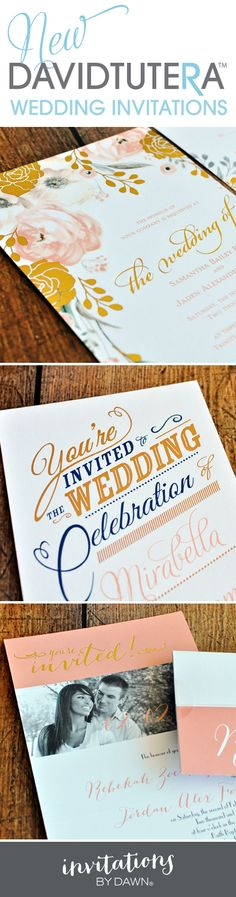 Foil stamped wedding invitations from the David Tutera Wedding Collection on Invitations by Dawn. #davidtutera #foil #weddinginvitations