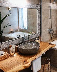 Industrial Bathroom Mirrors, Earthy Bathroom, Decorative Bathroom Mirrors, Rustic Bathroom Designs, Bathroom Styling, Bathroom Interior Design, Natural Bathroom, Balinese Bathroom, Brown Bathroom