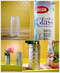 One can Krylon looking glass paint + some thrift store glass or house wares = great home decor accessories....your imagination would be the limit