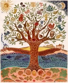 The Tree of Life - Hannah Firmin Art And Illustration, Frida Art, Wow Art, Motif Floral, Art Graphique, Tree Art, Tree Of Life Artwork, Printmaking, Illustrators