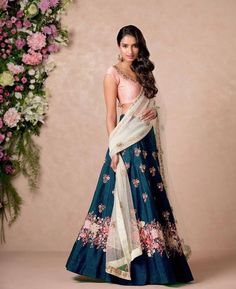Floral Lehenga Inspirations for Every Bride-to-Be! Floral Lehenga, Blue Lehenga, Bridal Lehenga, Lehenga Choli, Bollywood Lehenga, Lehenga Designs, Indian Wedding Outfits, Indian Outfits, Indian Weddings